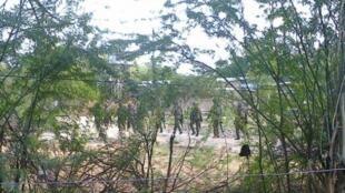 Wanajeshi wa kenya kwenye eneola shambulio, Garissa, Aprili 2 mwaka 2015.