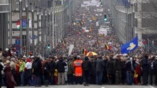 Importante manifestation des belges dans les rues de Bruxelles, le 23 janvier 2011.