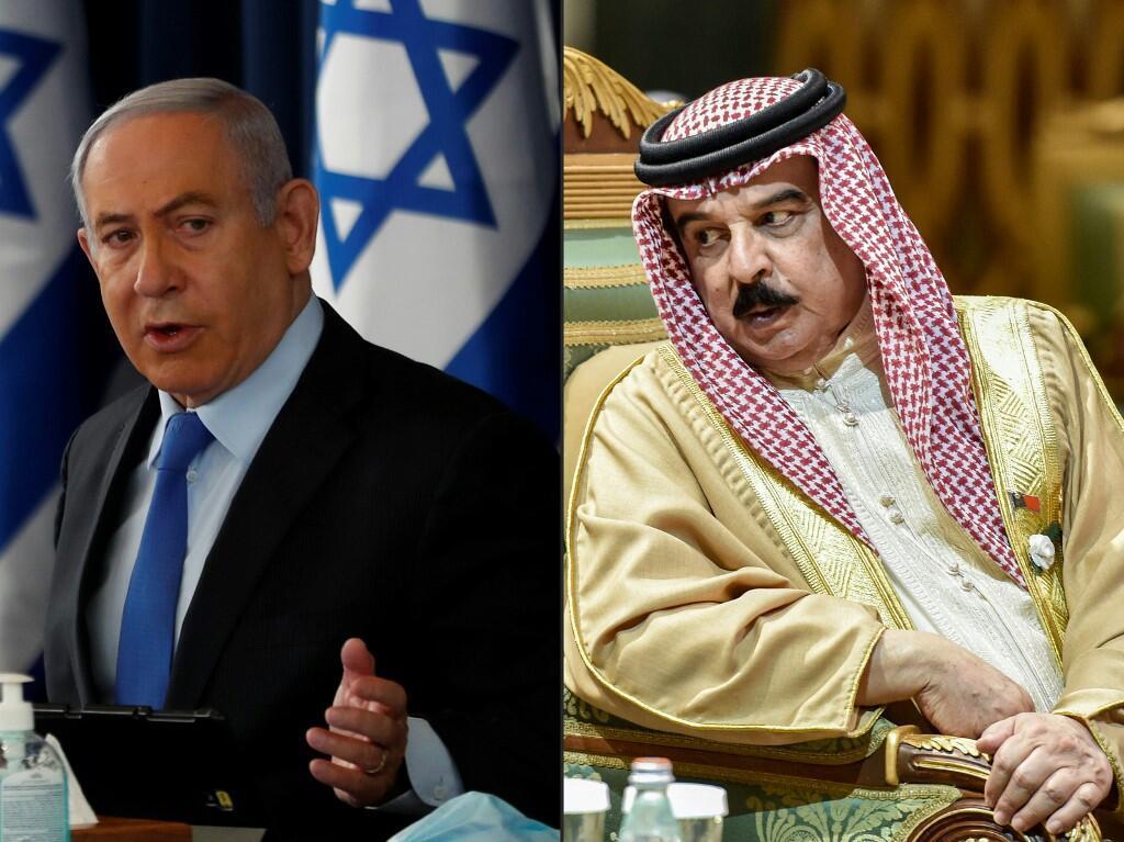 Waziri Mkuu wa Israeli Benjamin Netanyahu (kushoto) na Mfalme wa Bahrain Hamad bin Isa al-Khalifa.