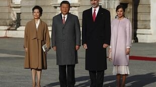 中國主席習近平夫婦與西班牙國王王後,2018年11月28日。