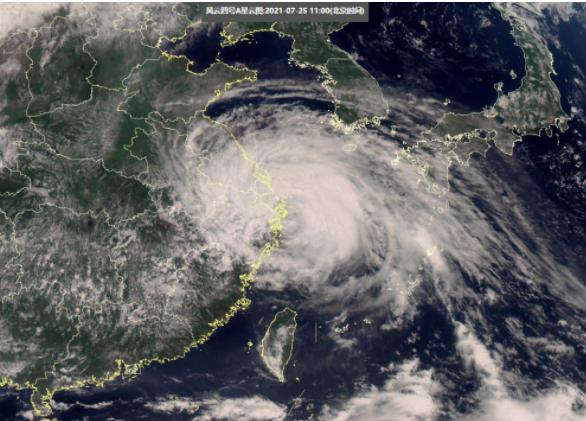 """台风""""烟花""""登陆中国卫星图"""