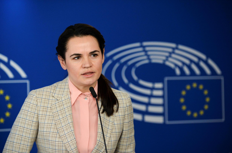 Светлана Тихановская в Европарламенте. Брюссель, 21 сентября 2020.