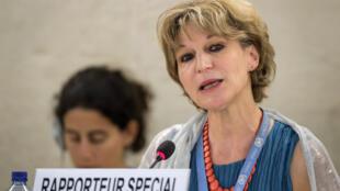Agnès Callamard, la rapporteure spéciale de l'ONU sur l'affaire Khashoggi le 26 juin 2019 à Genève.