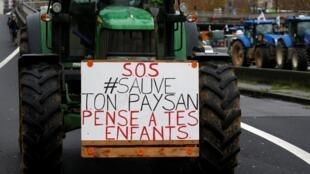 Manifestación de agricultores franceses, el 27 de noviembre de 2019.