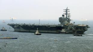 Tàu sân bay nguyên tử Mỹ USS Ronald Reagan rời căn cứ hải quân Yokosuka (tỉnh Kanagawa - Nhật Bản) ngày 08/09/2017.