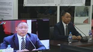 Edward Singhateh, ancien membre de la junte militaire, devant la Commission vérité et réconciliation.