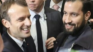 The scandal over Alexandre Benalla (right) was the most damaging of Emmanuel Macron's first year in office.