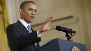 Barack Obama lors d'une conférence de presse à la Maison Blanche, vendredi 9 août 2013.