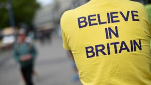 Một người ủng hộ Anh ở lại châu Âu, trong một cuộc tuần hành tại Luân Đôn, ngày 31/05/2016.