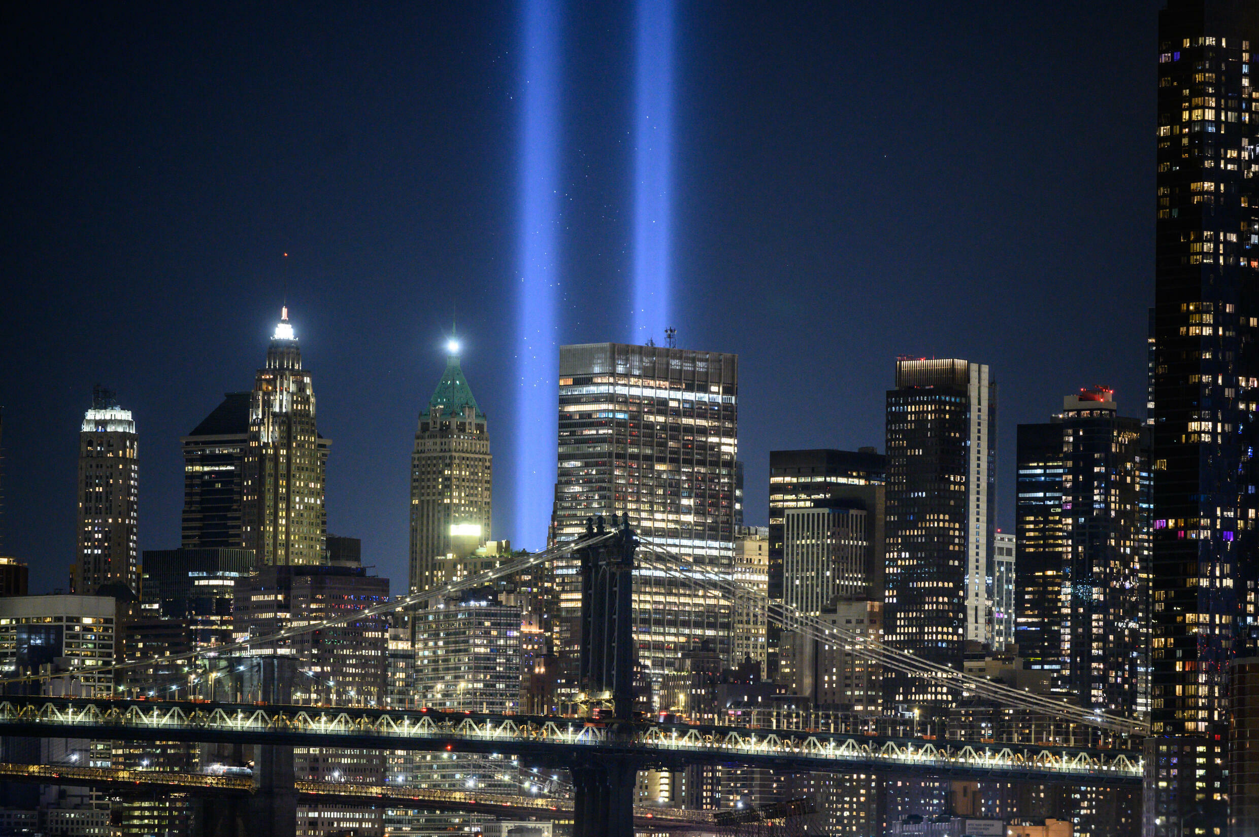 The New York skyline with the 'Tribute in Light' installation commemorating the 9/11 attacks on their 20th anniversary