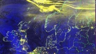 Cảnh cực quang ở Bắc Âu được vệ tinh chụp lại.