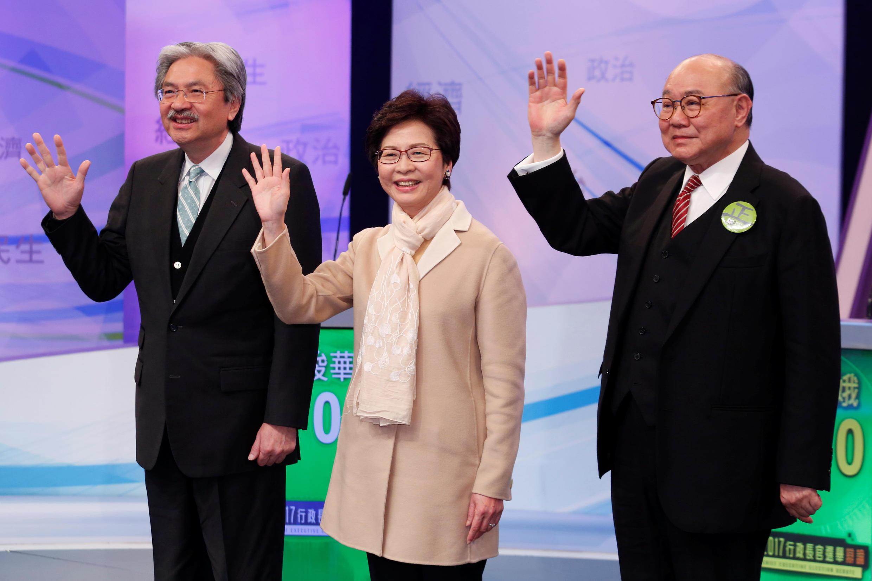 2017年3月14日,香港特首选举三名候选人(左至右:曾俊华,林郑月娥,胡国兴)参加特首选举辩论会。