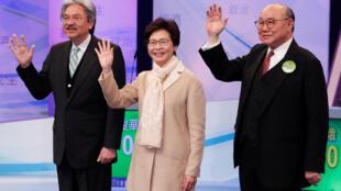 2017年3月14日,香港特首選舉三名候選人(左至右:曾俊華,林鄭月娥,胡國興)參加特首選舉辯論會。