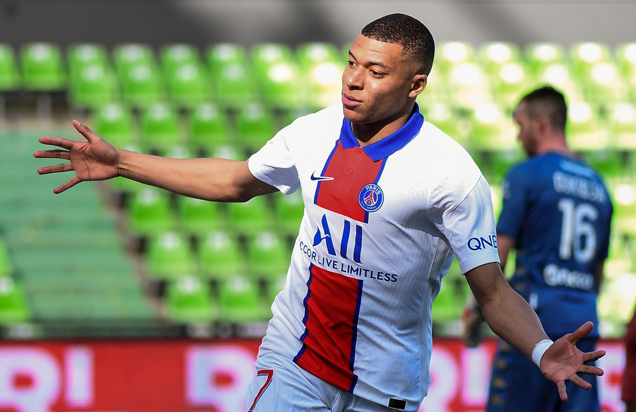 Kylian Mbappe has scored 25 Ligue 1 goals this season