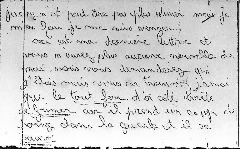 Reproduction d'une des lettres de menaces adressées par le « corbeau » à la famille Villemin.