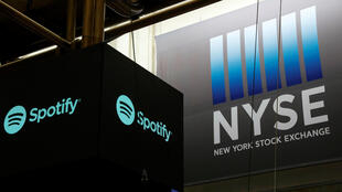 Le logo Spotify visible à la Bourse de New York, le 3 avril 2018.