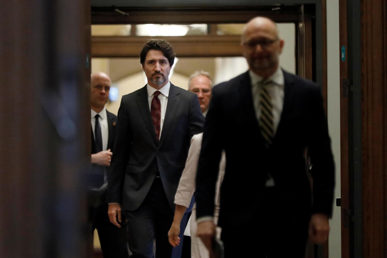 Le Premier ministre canadien Justin Trudeau avant sa conférence de presse, le 1er mai 2020 à Ottawa.