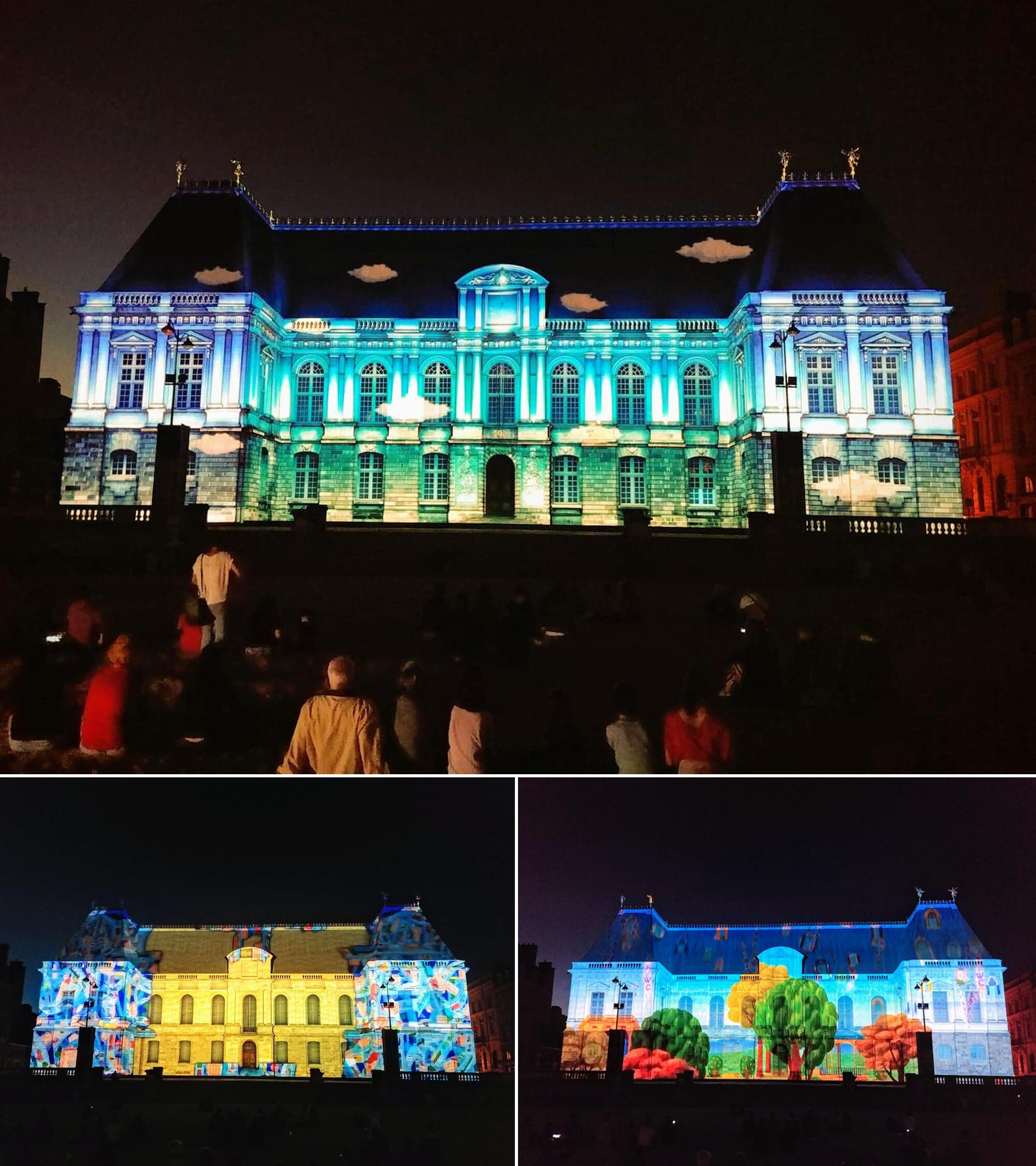Công trình Nghị Viện Bretagne càng cổ xưa, nghệ thuật chiếu video lên toà nhà lại càng tân thời hiện đại
