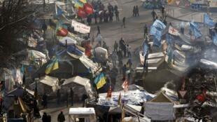 Lều bạt của người biểu tình chống chính phủ tại quảng trường Kiev, Ukraina, ngày 27/01/2014
