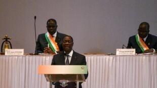 Le président Alassane Ouattara lors de son discours devant le Congrès ivoirien, le 5 mars à Yamoussoukro.