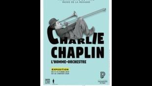 """Affiche de l'exposition """"Charlie Chaplin l'homme-orchestre"""" à la Philarmonie de Paris."""