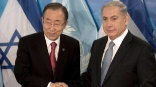 Le secrétaire général des Nations unies, Ban Ki-moon, et le Premier ministre israélien, Benyamin Netanyahu, à Jérusalem, le 12 octobre 2014.
