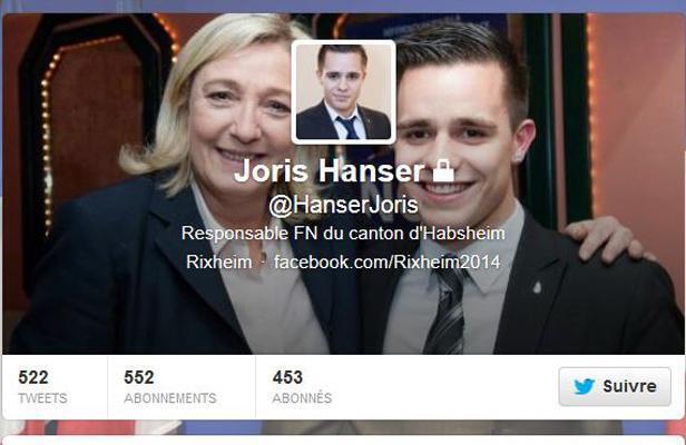 Аккаунт на facebook бывшего кандидата от НФ Жориса Ансера 06/11/2013