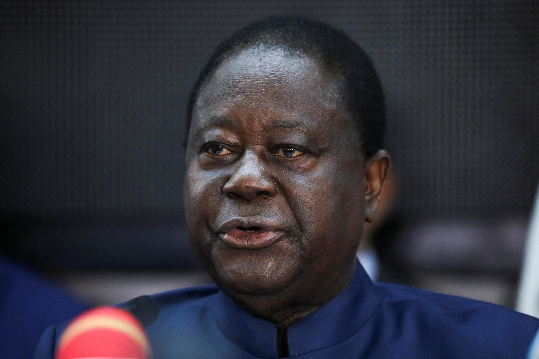 L'ancien président ivoirien Henri Konan Bédié, candidat du Parti démocratique de Côte d'Ivoire (PDCI) pour l'élection présidentielle du 31 octobre, lors d'une réunion de l'opposition à Abidjan, le 20 septembre 2020.