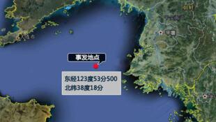 网络流传的中国渔船出事地点示意图