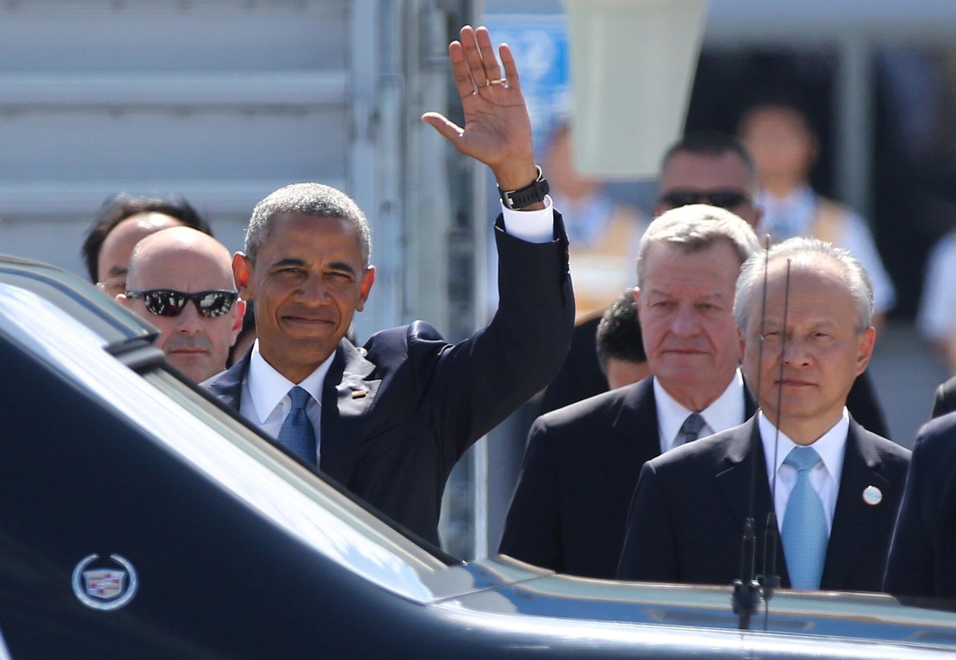 Barack Obama em sua chegada a Hangzhou, no leste da China, onde começa neste domingo a reunião de cúpula do G20.