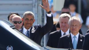 Barack Obama lors de son arrivée à Hangzhou (Chine), où doit se tenir le G20.