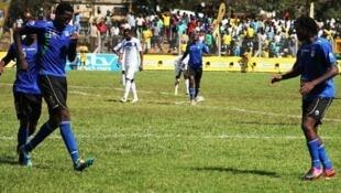 Mshambuliaji wa Kilimanjaro Stars John Boko akishangilia goli alilofunga jana dhidi ya Rwanda