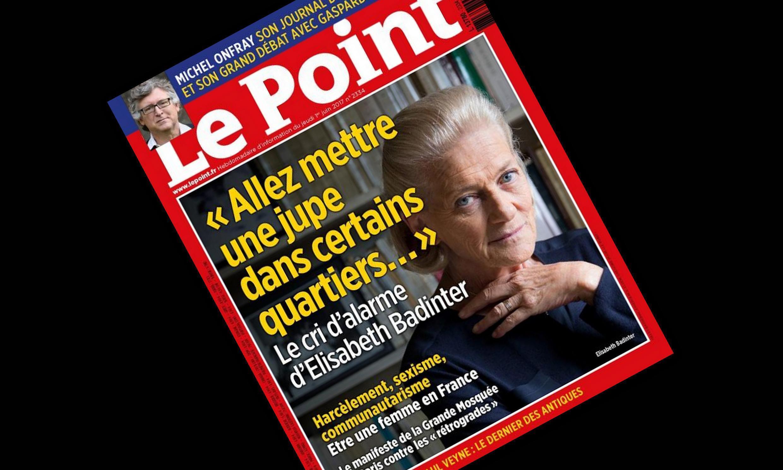 Capa da revista semanal Le Point com a escritora, filósofa, feminista e empresária Elisabeth Badinter.