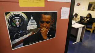 Une photo du président Obama sur une porte d'un centre d'emploi pour les jeunes, à Baltimore.