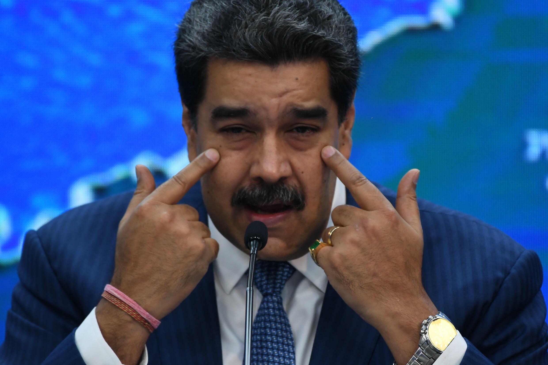 El presidente de Venezuela, Nicolás Maduro, habla durante una rueda de prensa con corresponsales de medios internacionales en el Palacio Presidencial de Miraflores, en Caracas, el 16 de agosto de 2021