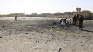 Les dégâts après l'attentat-suicide contre le centre de formation de Zliten, le 7 janvier 2016.