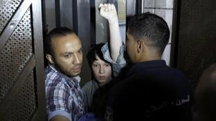 French Femen activist Marguerite Stern just after she is released from prison in Tunis, 27 June