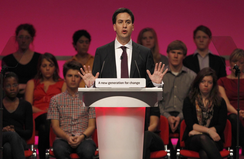 Ed Miliband, le nouveau chef du Labour Party, lors de son premier discours-programme au congrès de son parti à Manchester, le 28 septembre 210.
