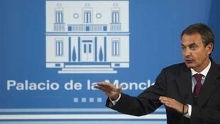 El presidente del gobierno español José Luis Rodríguez Zapatero en la Moncloa, el 31 de agosto de 2011.