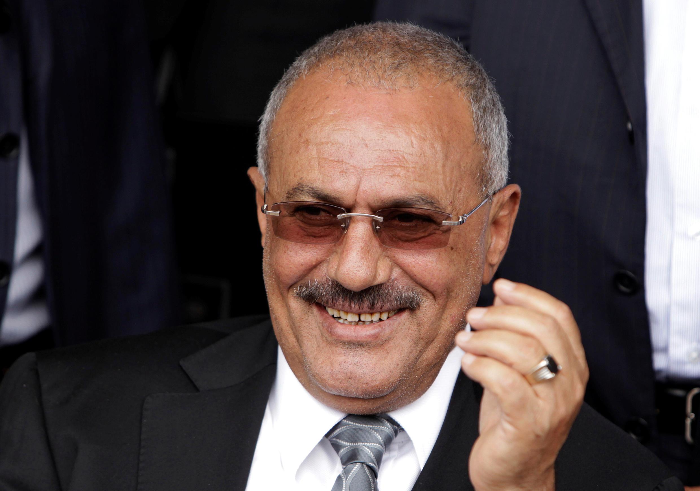 Ex president of  Yemen Ali Abdullah Saleh on April 22, 2011 in Sana'a