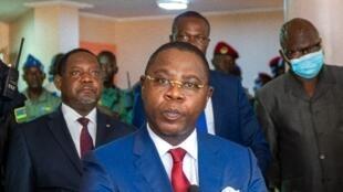 Henri Marie Dondra, lors de sa prise de fonction comme Premier ministre de RCA, el 15 juin 2021 à Bangui.