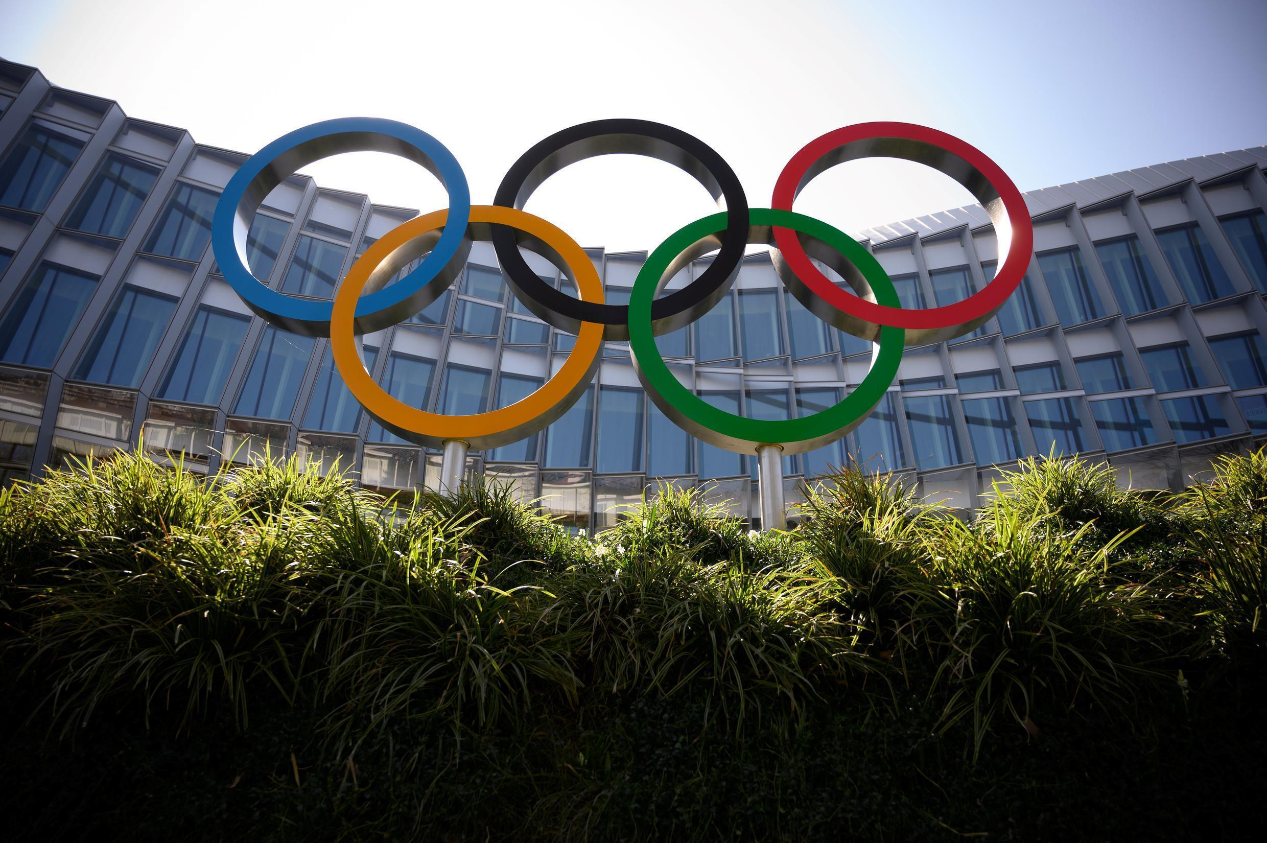 The Olympic Rings are seen outside the headquarters of the International Olympic Committee (IOC) in Lausanne, Switzerland