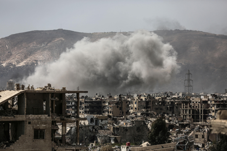 Chiến sự khốc liệt bên trong Damas, ngày 19/03/2017 giữa quân chính phủ Syria và lực lượng thánh chiến.