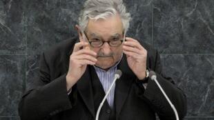 El presidente uruguayo José 'Pepe' Mujica durante su discurso, este 24 de septiembre en la sede de la ONU, Nueva York.