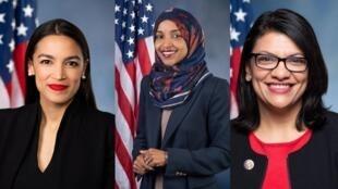 Fotomontagem com Alexandria Ocasio-Cortez, Ilhan Omar, Rashida Tlaib (da esquerda para a direita).