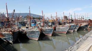 Tàu đánh cá trái phép của Trung Quốc bị lực lượng Tuần Duyên Hàn Quốc bắt giữ, neo tại cảng Incheon ngày 09/10/2016. Ảnh tư liệu.