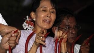 Аун Сан Су Чжи обращается к своим сторонникам после освобождения