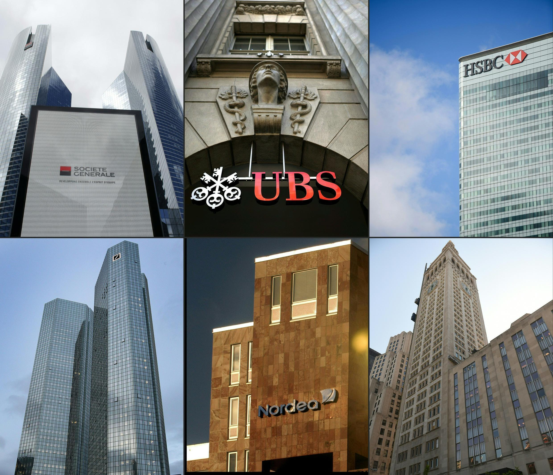 """Các ngân hàng Société Générale (Pháp), UBS (Thụy Sĩ), HSBC (Anh), Deutsche Bank (Đức), Nordea Bank (Thụy Điển) và Crédit Suisse (Thụy Sĩ) liên có liên quan đến vụ rò rỉ thông tin Panama Papers""""."""