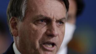 法廣存檔圖片:巴西總統博索納羅 2021年3月31日 攝於巴西利亞 Image d'archive RFI : Le président brésilien Jair Bolsonaro, le 31 mars 2021 à Brasilia.