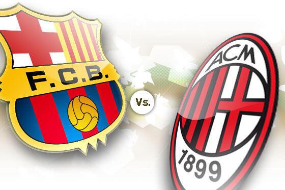 Nembo za timu za FC Barcelona ya Uhispania na AC Milan ya Italia